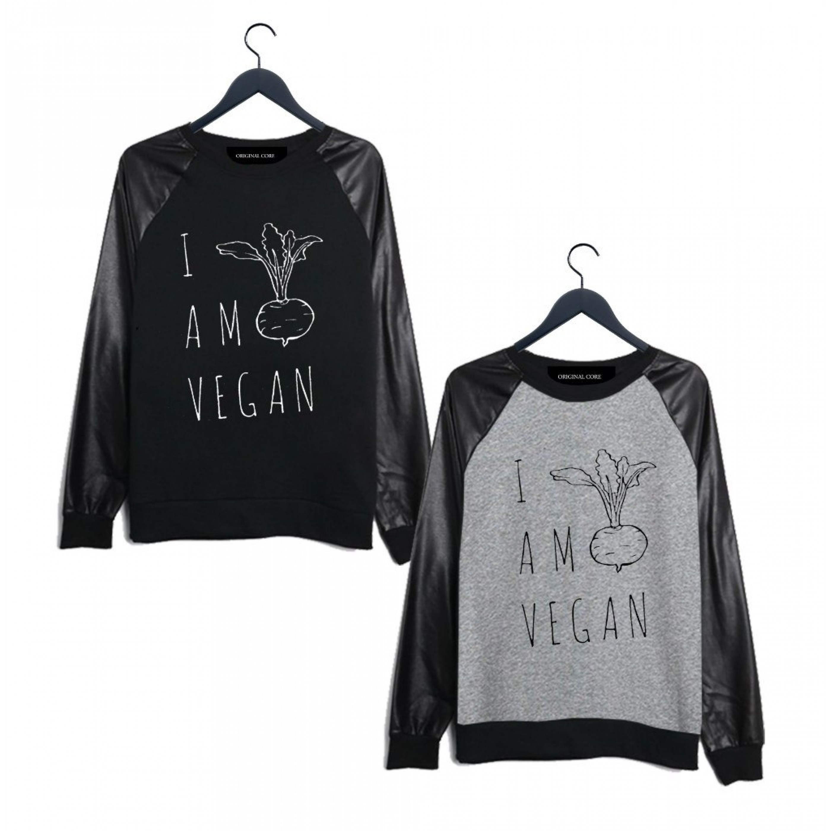 ORIGINAL CORE Vegan Leathersleeved Sweatshirt