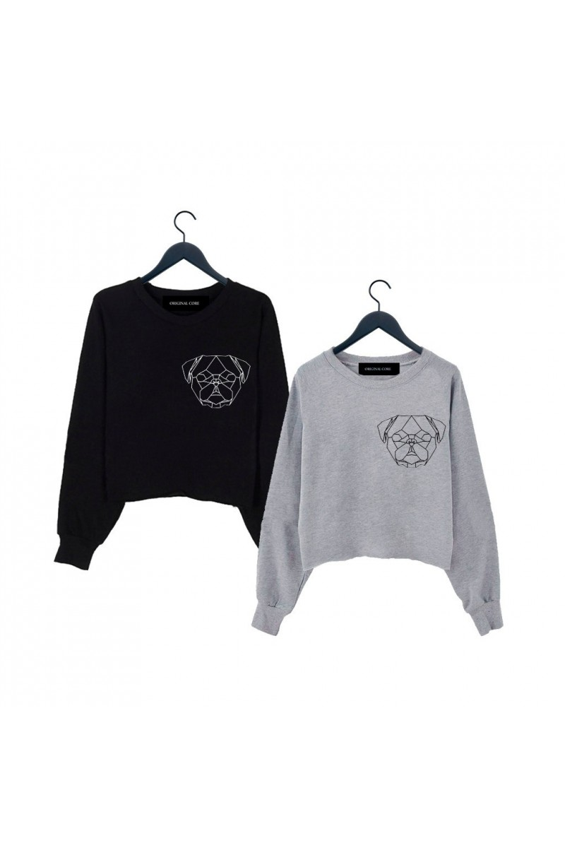 ORIGINAL CORE Geometric Pug Crop Sweatshirt
